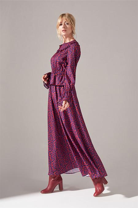 Mizalle Mercan Baskılı Fırfır Detaylı Elbise