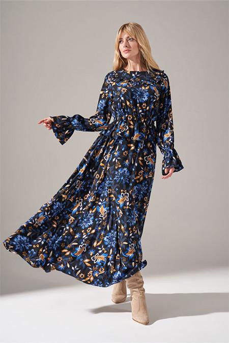 Mizalle Renkli Baskılı Fırfır Detaylı Elbise