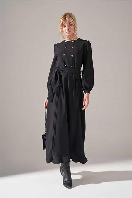 Mizalle Siyah Önü Süs Düğmeli Elbise