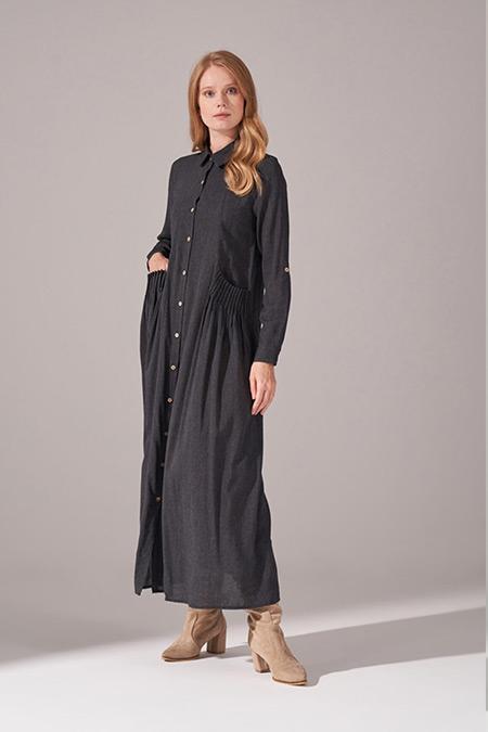 Mizalle Siyah Cepleri Nervür Dikişli Elbise