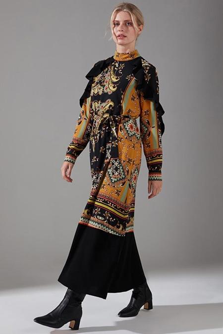 Mizalle Siyah Desen Parçalı Fırfırlı Elbise