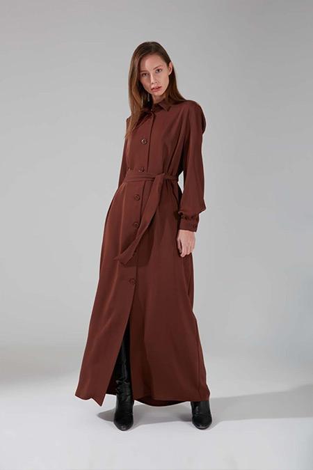 Mizalle Taba Büyük Düğmeli Uzun Elbise
