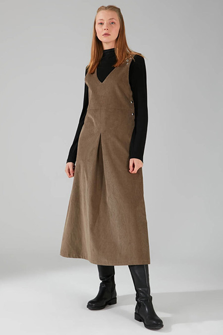 Mizalle Vizon Kuş Gözü Detaylı Kadife Jile Elbise