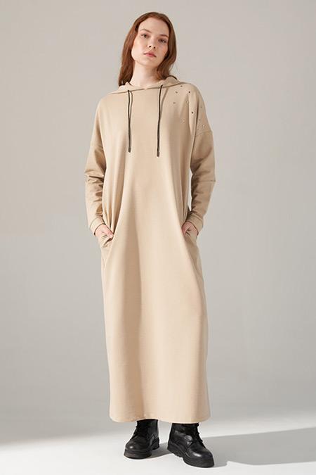 Mizalle Youth Bej İki İplik Droplu Elbise