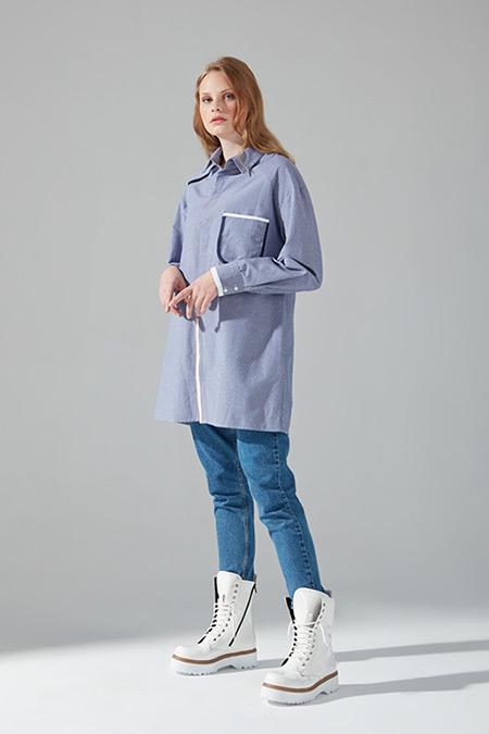 Mizalle Youth Mavi Biyeli Tunik Gömlek