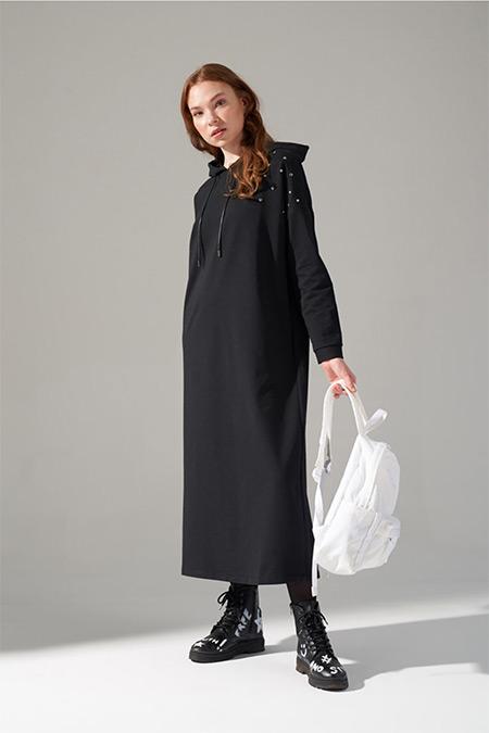 Mizalle Youth Siyah İki İplik Droplu Elbise