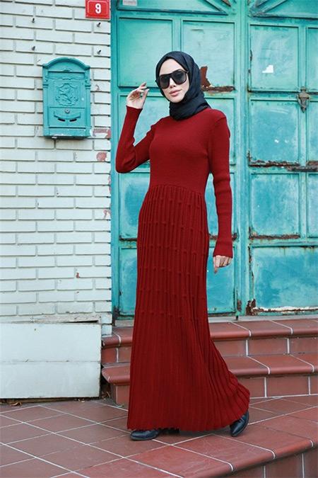 Neways Bordo Eteği Desenli Triko Elbise