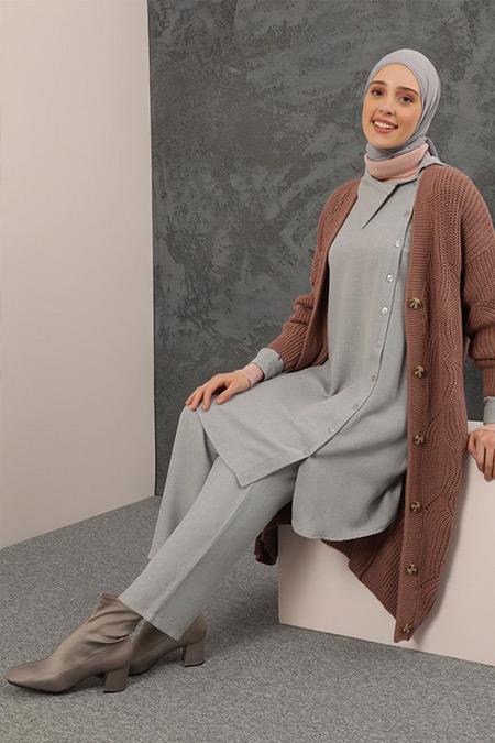 Refka Gri Tunik&Pantolon İkili Takım