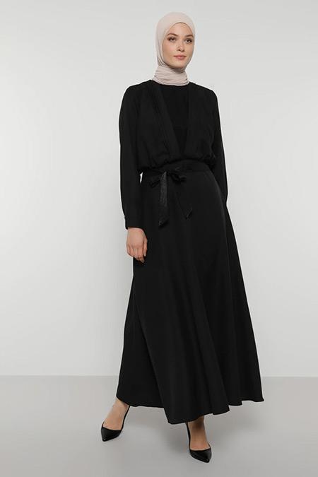 Refka Siyah Saten Kuşaklı Şık Elbise