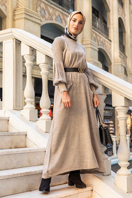 Refka Vizon Balon Kollu Cep Detaylı Triko Elbise
