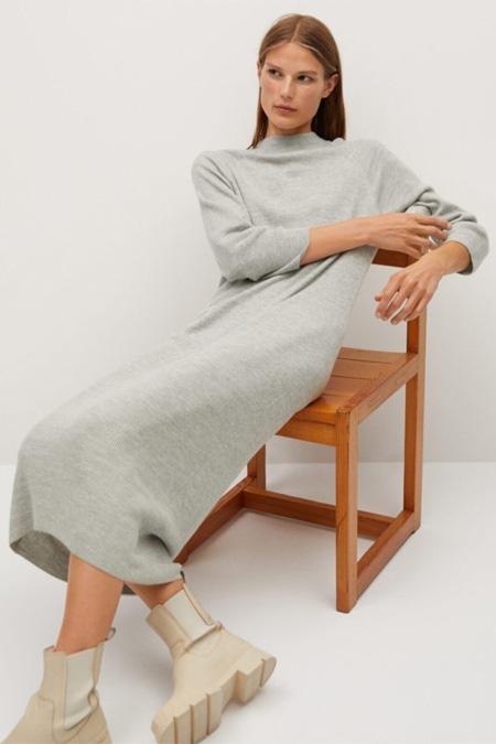 Mango Kadın Açık Kırçıllı Gri Ince Örgü Elbise