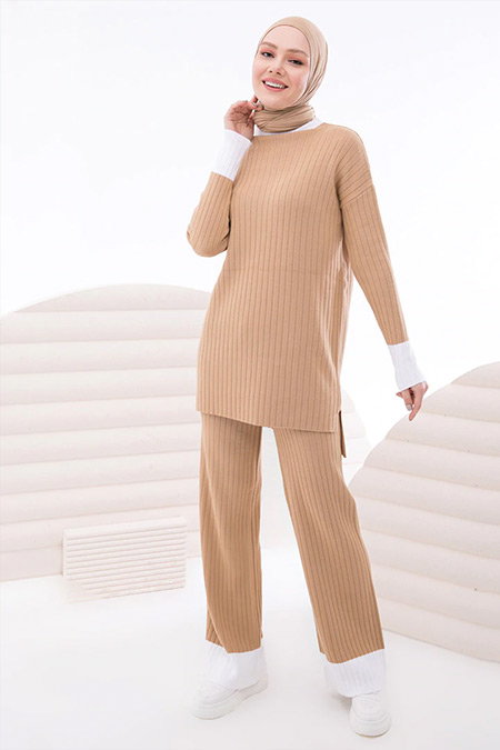 İnşirah Camel Triko Tunik&Pantolon İkili Takım