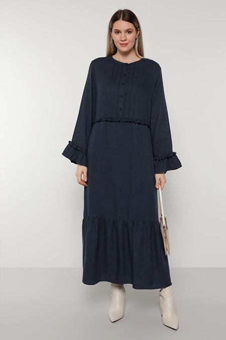 Alia Lacivert Fırfır Detaylı Elbise