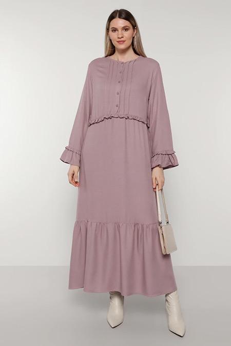 Alia Lila Fırfır Detaylı Elbise