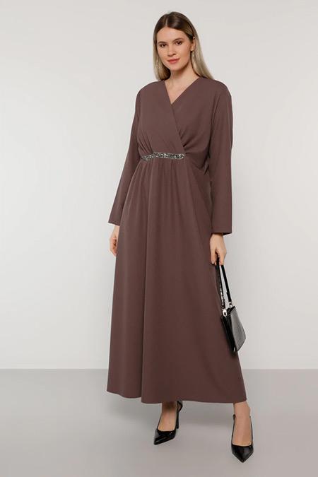 Alia Mistik Mor Beli Taşlı Kruvaze Yaka Elbise
