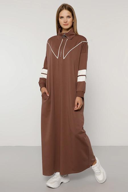 Alia Mistik Mor Ekru Biye Detaylı Elbise