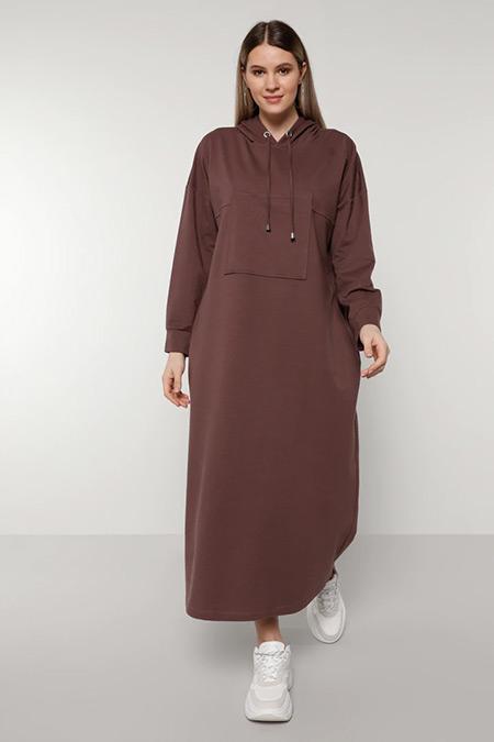 Alia Mor Cep Detaylı Kapüşonlu Elbise