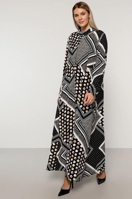 Alia Siyah Doğal Kumaşlı Desenli Elbise