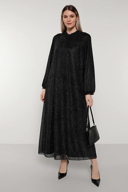 Alia Siyah Simli Abiye Elbise