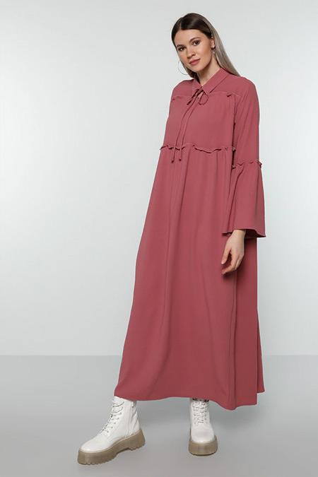 Alia Somon Yakası Bağlamalı Elbise