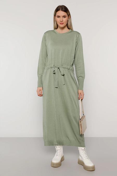 Alia Su Yeşili Beli Bağcıklı Triko Elbise