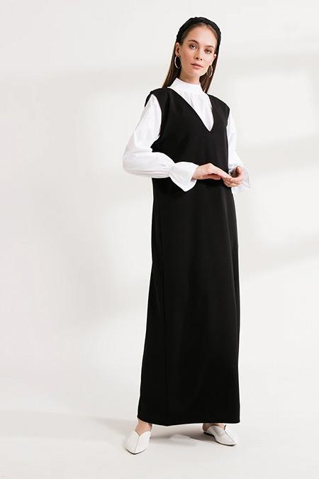 Ceylan Otantik Siyah Sade Elbise