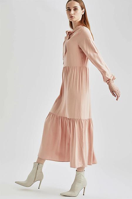 Defacto Gül Volanlı Fular Yaka Balon Kollu Elbise
