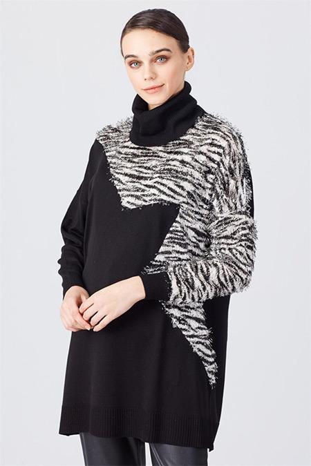 Ghisa Siyah Oversize Yıldız Tunik