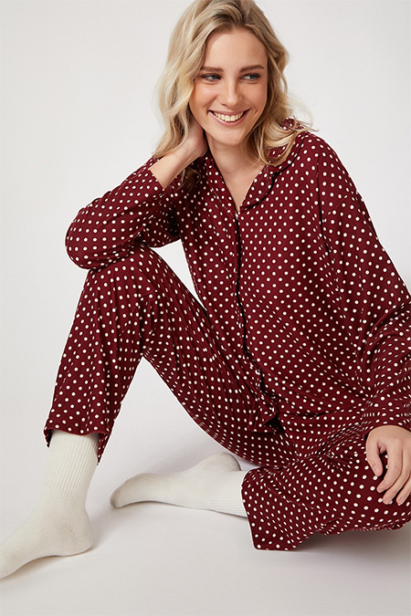 Happiness İst. Bordo Puantiyeli Kadifemsi Pamuklu Örme Pijama Takımı