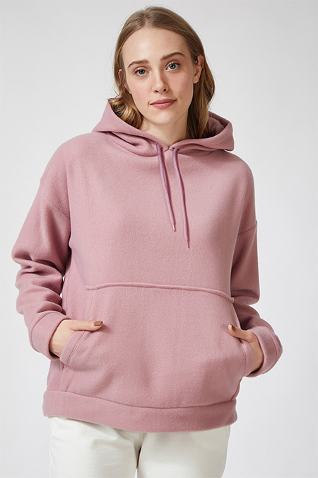 Happiness İst. Gül Kurusu Kapüşonlu Kışlık Polar Sweatshirt