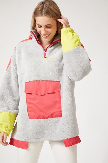 Happiness İst. Taş Grisi Kışlık Fermuarlı Oversize Polar Sweatshirt