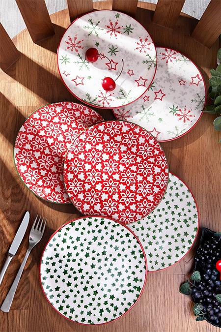Kitchen Life Renkli Özel Tasarım Handmade  21cm 6'lı Pasta Tabak Seti