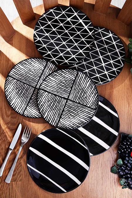 Kitchen Life Siyah Özel Tasarım Handmade 21cm 6'lı Pasta Tabak Seti