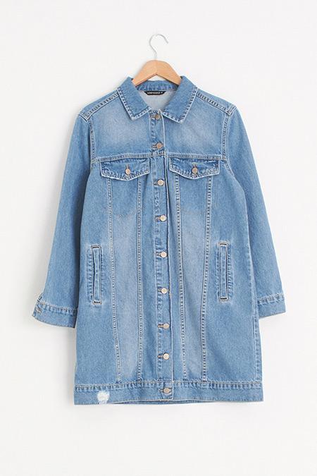 LC Waikiki Mavi Cepli Uzun Jean Ceket