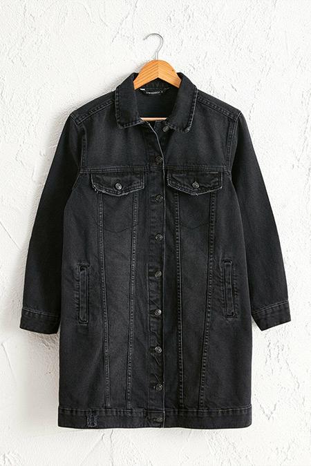 LC Waikiki Siyah Cepli Uzun Jean Ceket