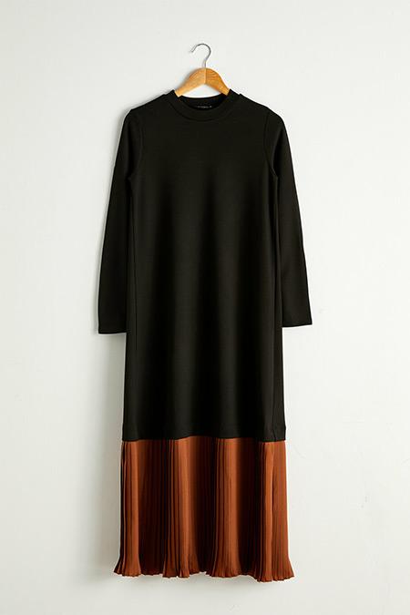 LC Waikiki Siyah Pili Detaylı Uzun Elbise