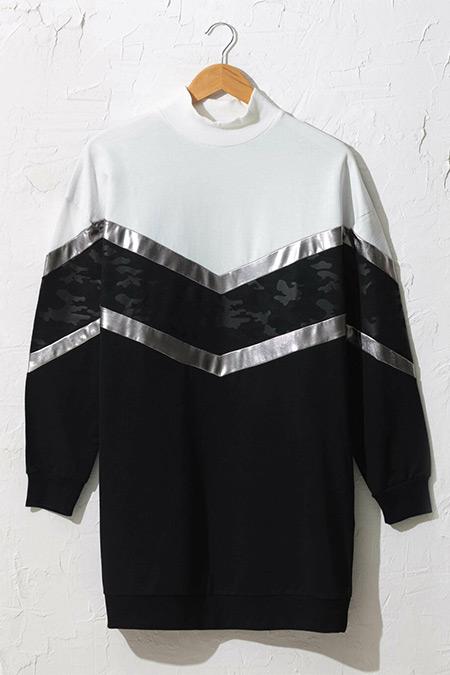 LC Waikiki Siyah Renk Bloklu Işıltılı Sweatshirt