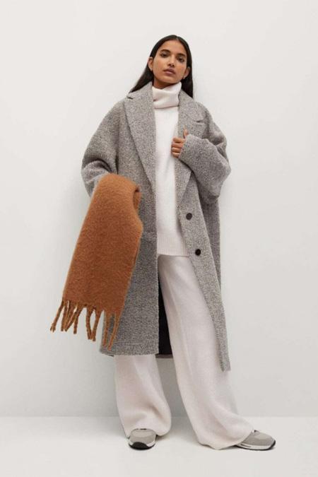 Mango Kadın Bej Yün Karışımlı Dokuma Palto