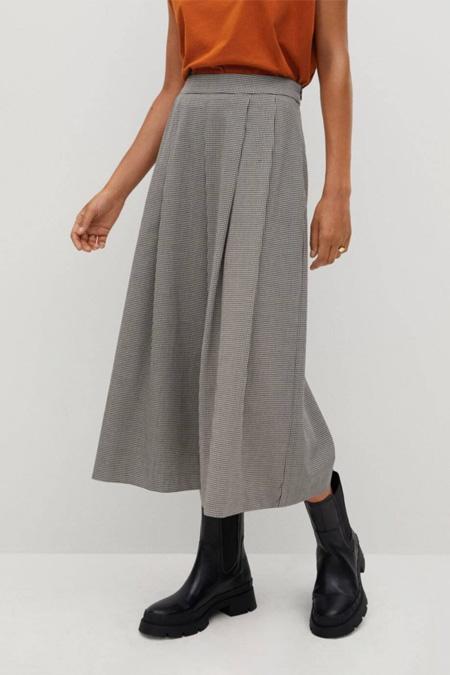 Mango Kadın Gri Pilili Pantolon Etek