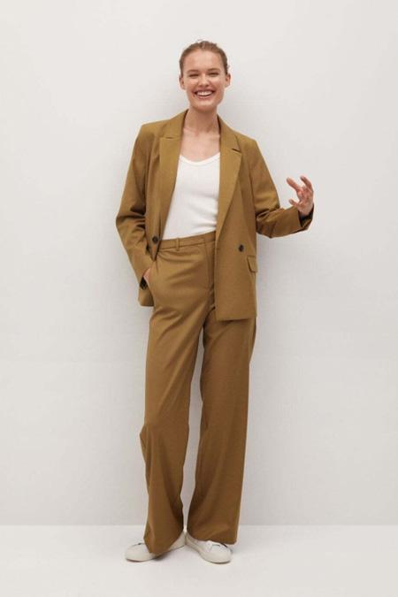 Mango Kahverengi Düz Kesim Kumaş Pantolon