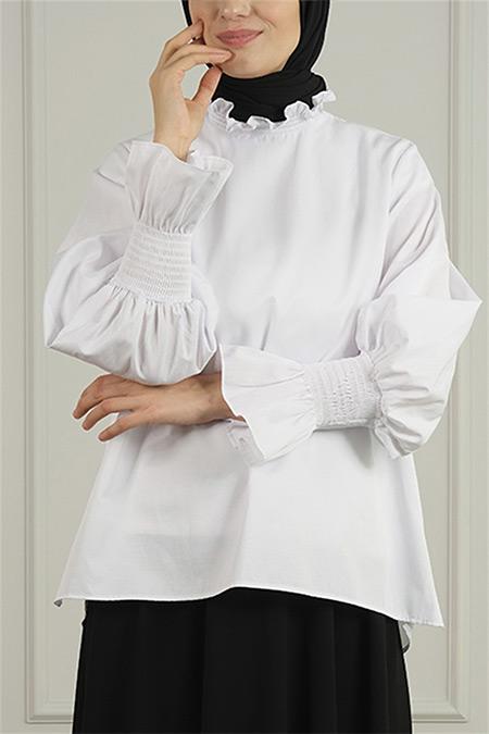 Merve Dağlı Beyaz Poplin Gömlek