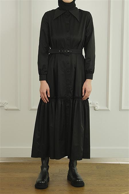 Merve Dağlı Siyah Seyyar Kemerli Elbise