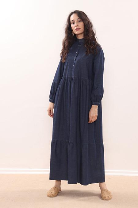 Minik Terzi Koyu Lacivert Büzgülü Kot Elbise