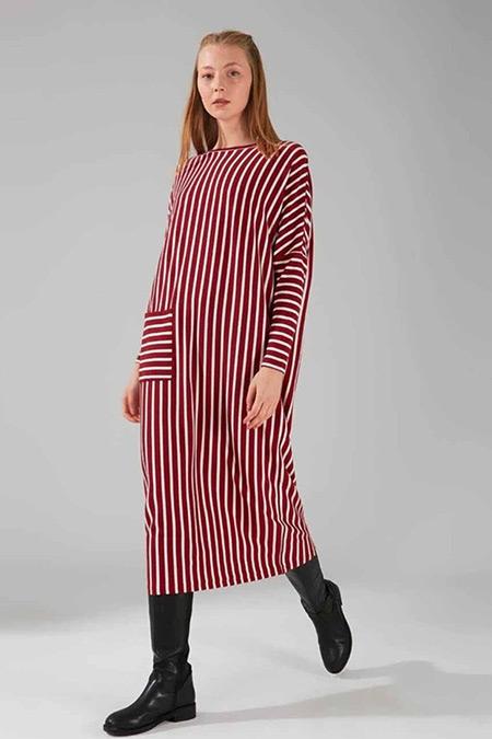 Mizalle Bordo Cep Detaylı Çizgili Elbise