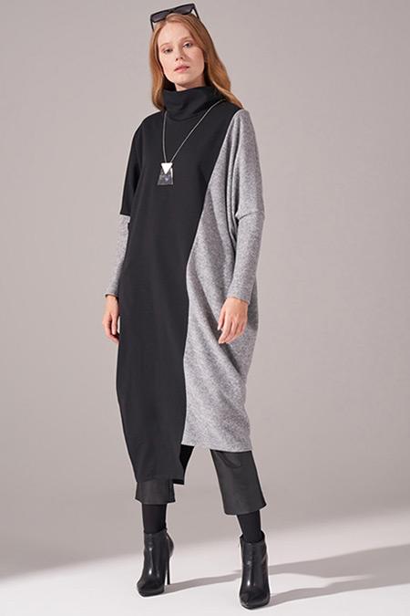 Mizalle Gri İki İplik Parçalı Elbise