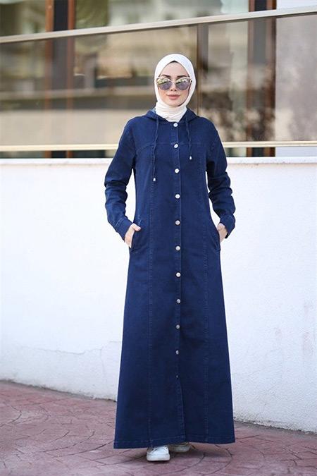 Neways Koyu Mavi Kapüşonlu Düğmeli Kot Ferace