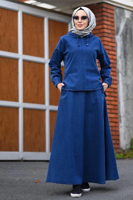 Neways Koyu Mavi Kot Bluz & Etek İkili Takım