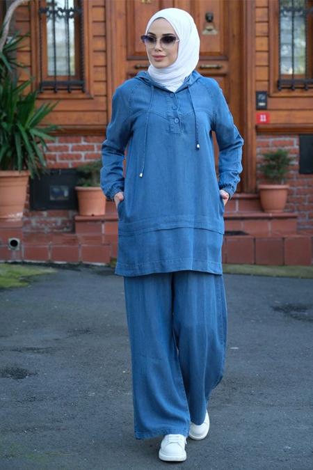 Neways Koyu Mavi Tunik & Pantolon İkili Takım