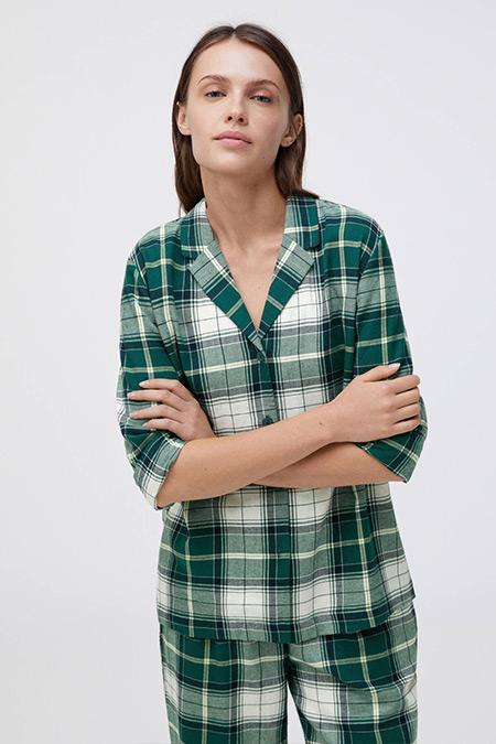 Oysho Yeşil %100 Pamuklu Kareli Gömlek
