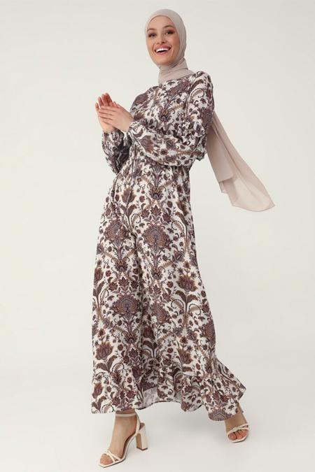 Refka Bej Doğal Kumaşlı Fırfır Detaylı Çiçek Desenli Elbise